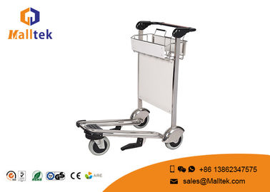 China Rubber Wheel Airport Luggage Trolley Stainless Steel Luggage Trolley With Hand Brake supplier