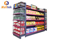 Double Sided Grocery Store Retail Display Stand Racks Supermarket Steel Shelf