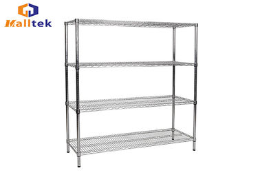 China Customized Color Chrome Wire Rack Shelving Easy To Assemble With Wheels distributor