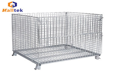 Folded Stacking Wire Mesh Storage Cages Collapsible Fireproof Steel Material