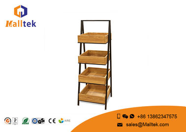 Ladder Type Shopping Wooden Retail Display Stands With Metal Frame