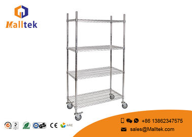 China Optional Layer Height Wire Mesh Shelving Commercial Wire Shelving With 4 Wheels factory