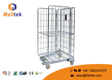 4 Side Cargo Steel Wire Mesh Container Roll Cage Trolley For Storage Use
