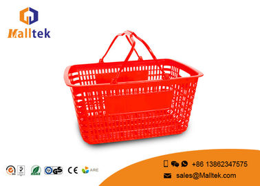 Red Color Supermarket Shopping Basket Load Bearing Environmental Plastic