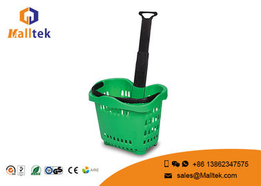 Hand 42 Liters Rolling Plastic Shopping Basket With Handles In Green Color