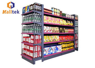 China Double Sided Grocery Store Retail Display Stand Racks Supermarket Steel Shelf distributor