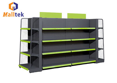 China 2 Side Supermarket Gondola Shelving Metal Perforated Back Panel Shelf Display Rack distributor