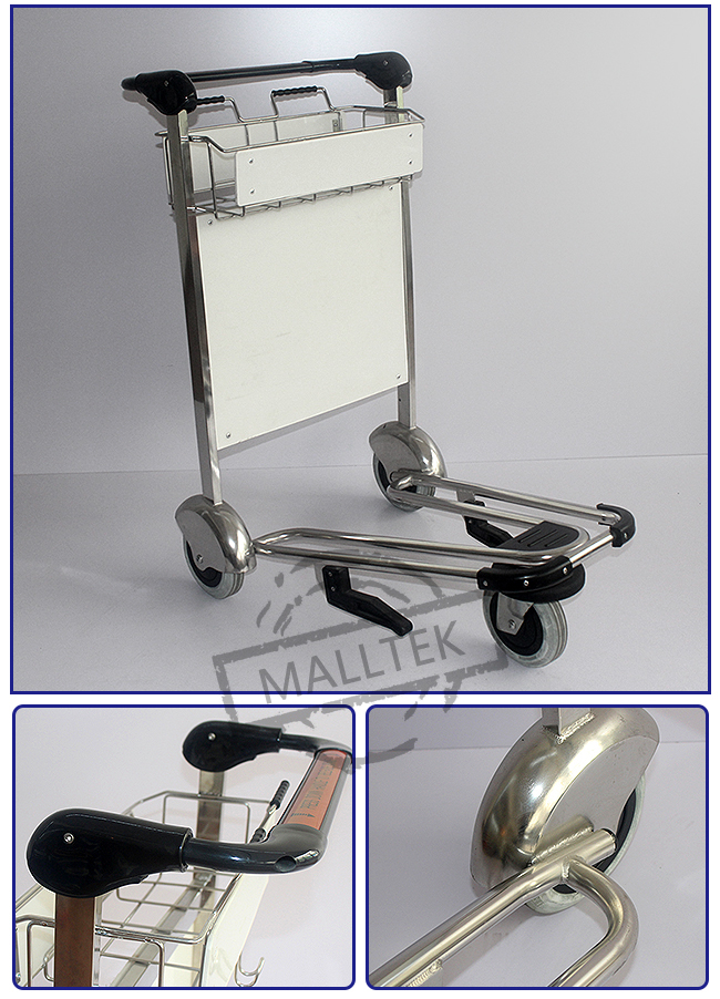 Rubber Wheel Airport Luggage Trolley Stainless Steel Luggage Trolley With Hand Brake