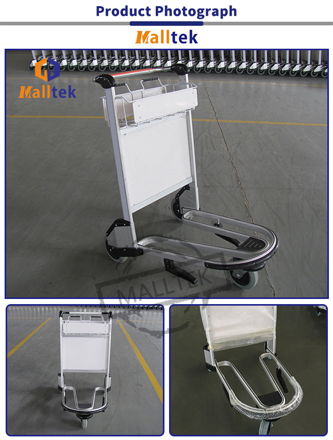 Foldable Portable Airport Baggage Cart Chrome Plated 3 Wheels Storage Usgae