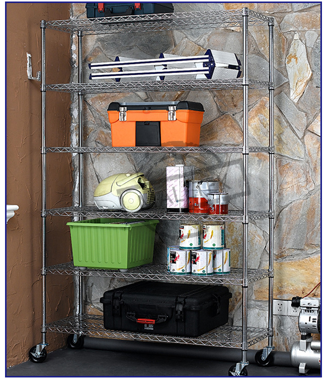 Heavy Duty Home Depot Wire Shelving Movable Height Adjustment Corrosion Resistant
