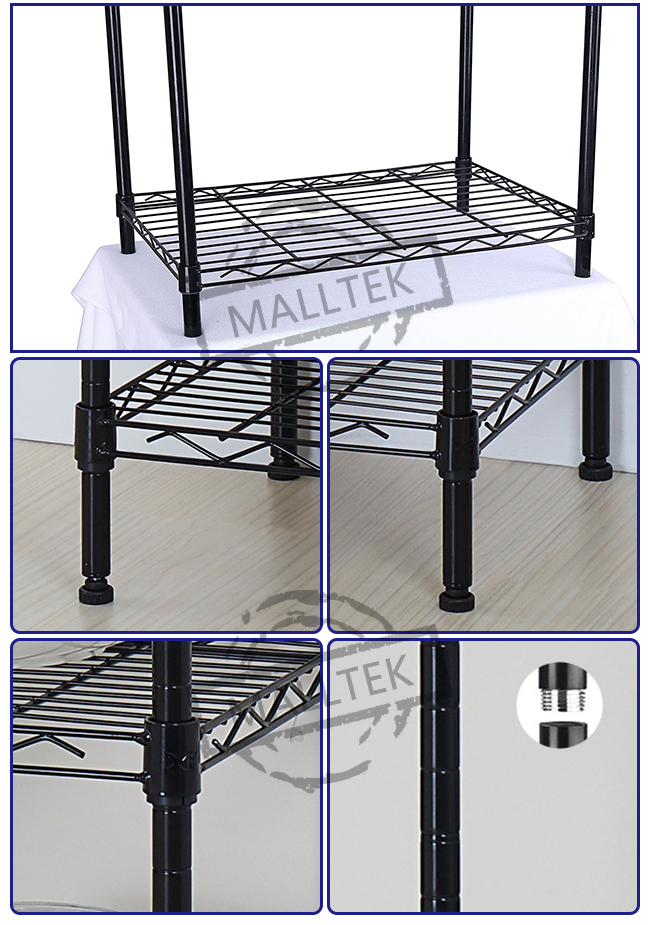 5 Tier Wire Rack Storage Shelves Chrome Plating Easy Dismantle For Kitchenware
